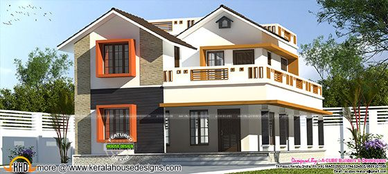 2477 sq-ft 4 bedroom modern sloping roof