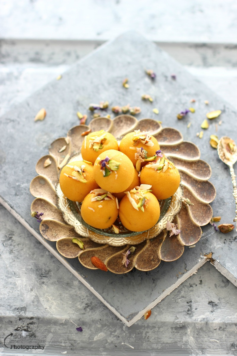 These delicious Indian style mango and coconut truffles are fudgy and so easy to make with mango puree and coconut powder or flour.