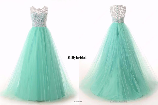 Scoop Neck Green Lace Tulle Ruffles Sweep Train Discounted Prom Dresses