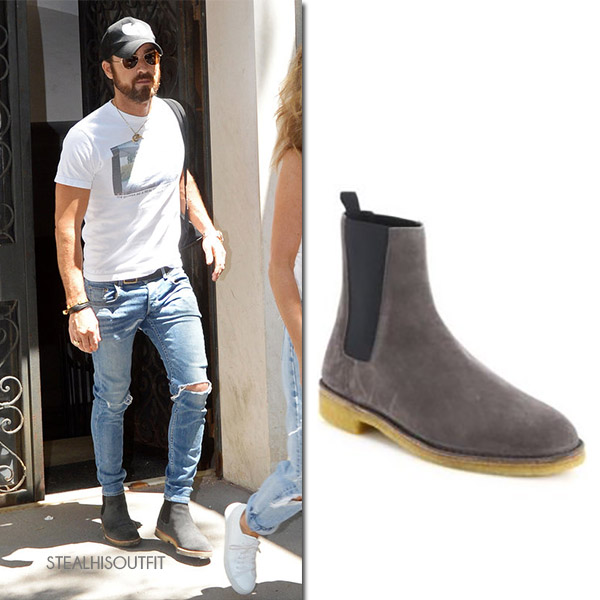 Justin Theroux in grey suede chelsea boots saint laurent nevada mens celebrity fashion 2017
