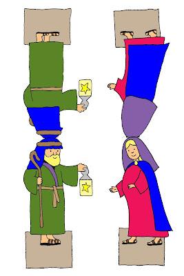 Maria und Josef - figuren zum Basteln bunt