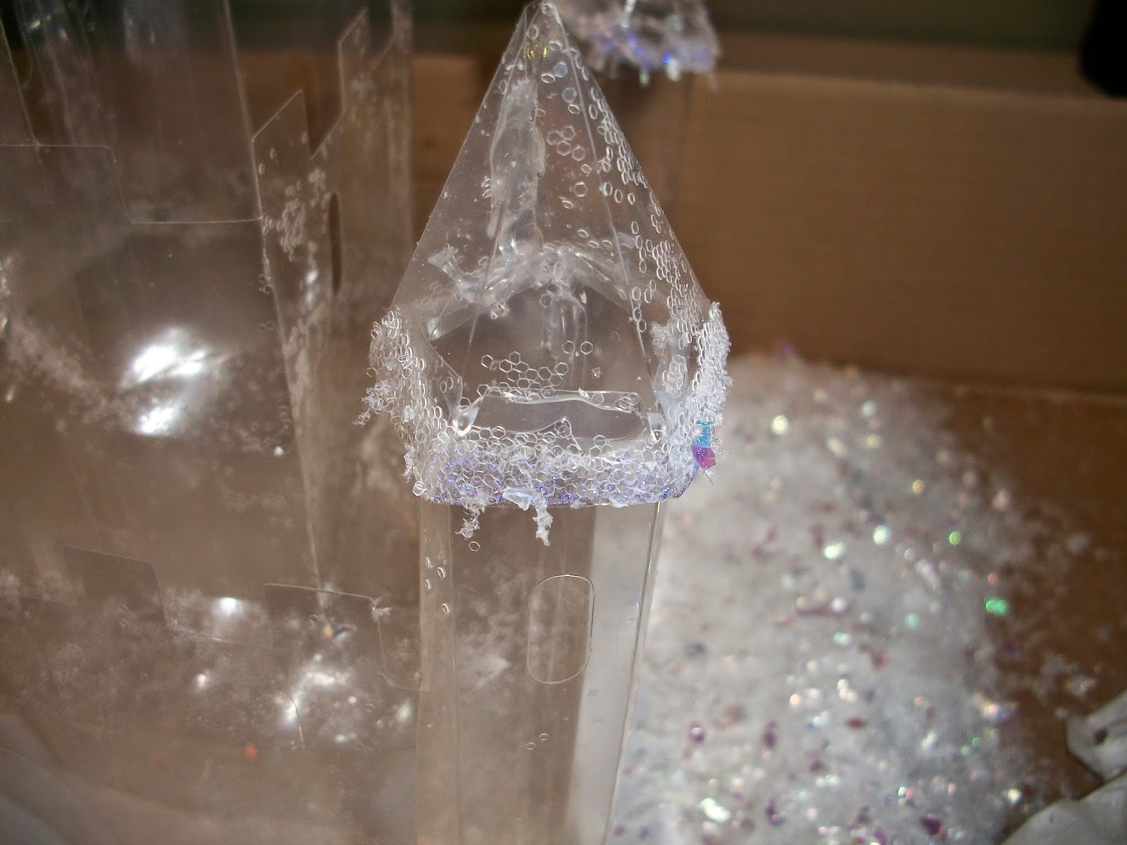 Adding faux snow and glitter to castle