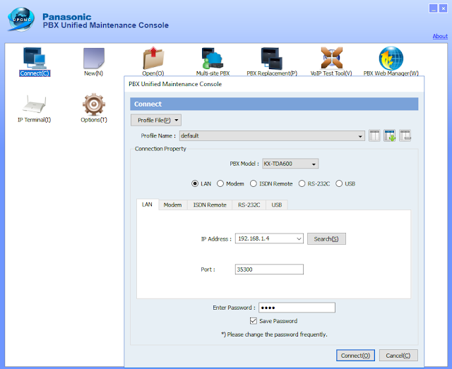 UPCMC Panasonic PBX Unified Maintenance Console