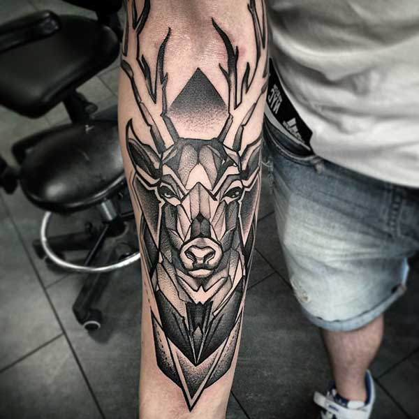 geometric deer tattoo design