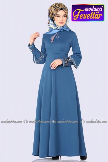 ca94e1c7d5f42 Kolu Nakışlı Elbise 5496MP186 İndigo - Moda Selvim - Mira Tesettür Elbise  2019