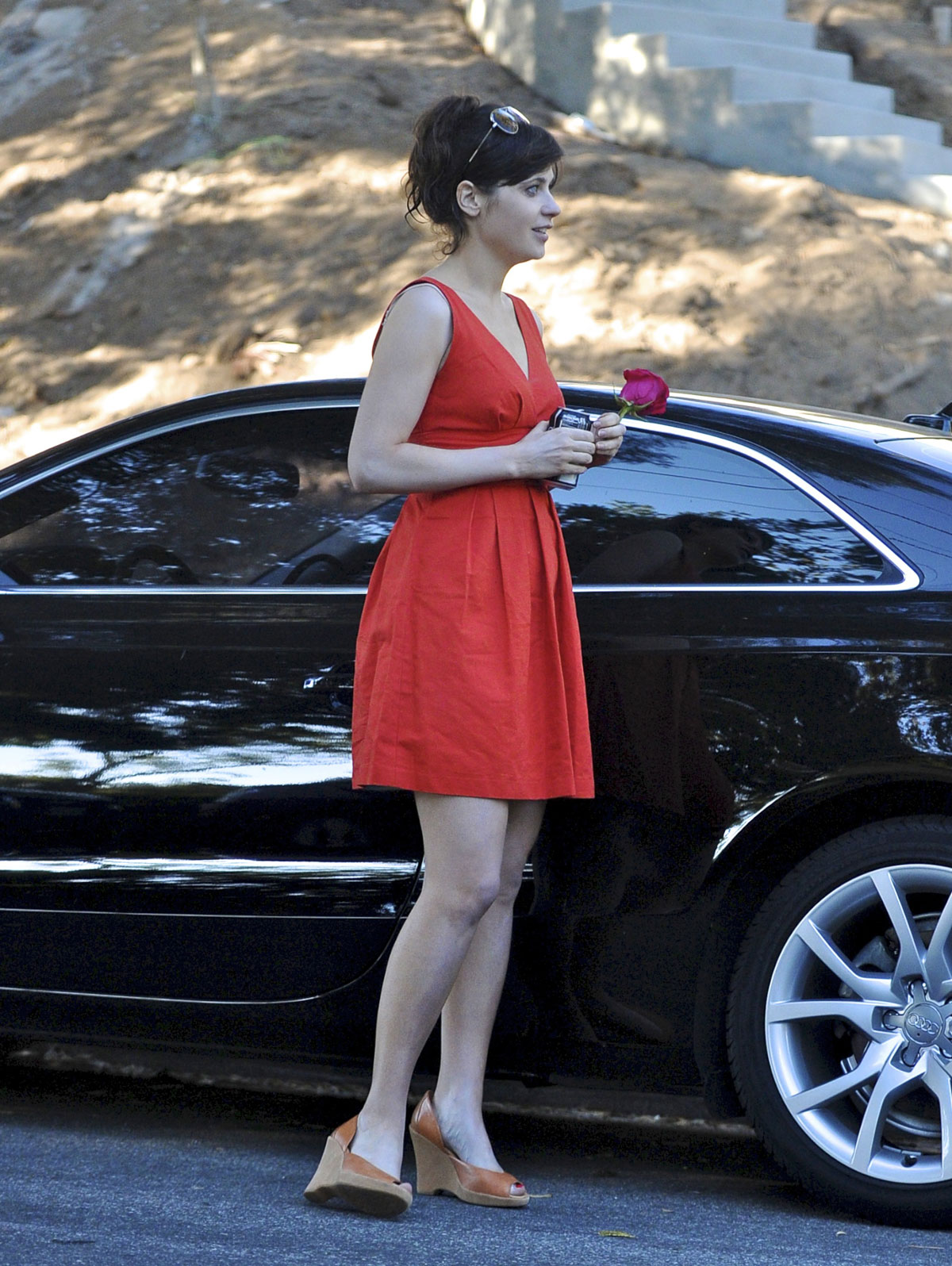 Zooey Deschanel In Red Dress In Los Angeles Celebs Posters