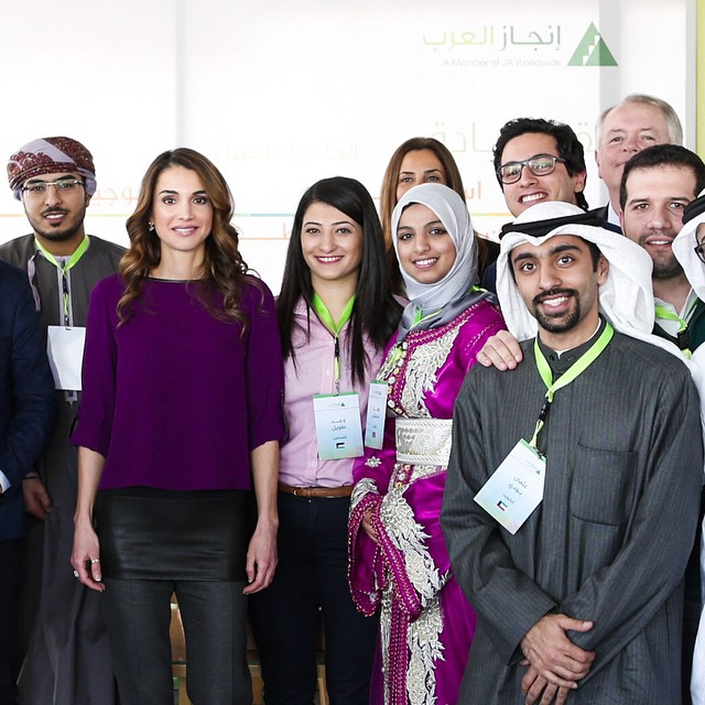 Sean Rush, president and CEO of US-based Junior Achievement Worldwide,INJAZ's parent organisation; INJAZ Al-Arab's MENA Regional Director Soraya Salti; and INJAZ Al-Arab Deputy CEO Akef Aqrabawi also attended the session.