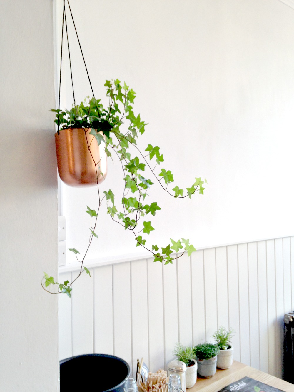 copper hanging planters