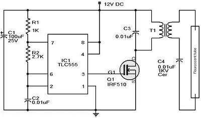 12VDC    FLUORESCENT    LAMP DRIVER SCHEMATIC    DIAGRAM         Wiring