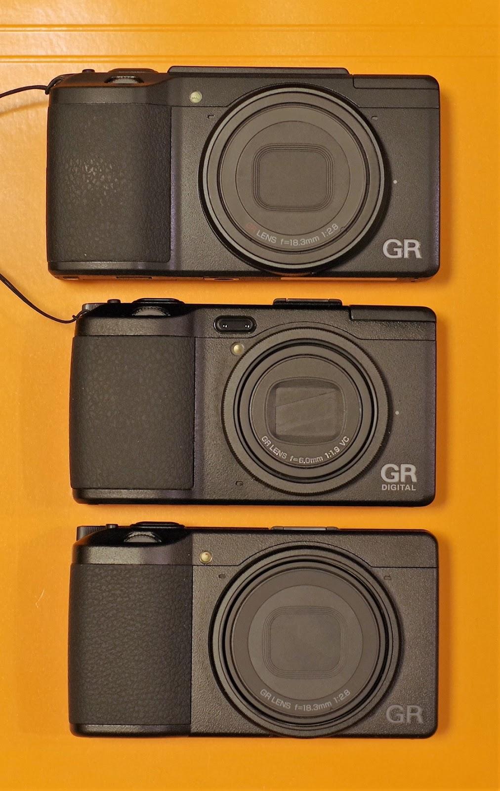 Сравнение габаритов Ricoh GR III, GR Digital IV и GR II