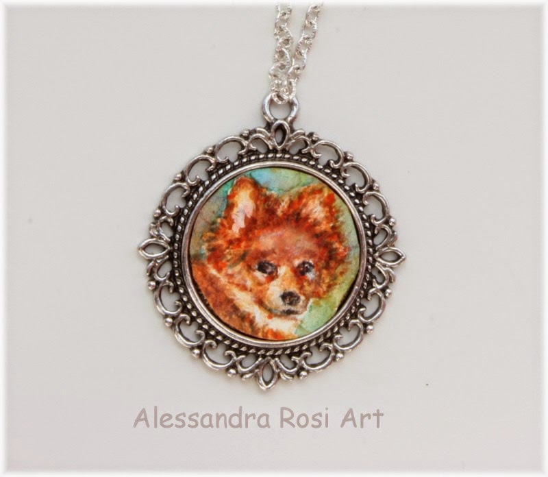 Miniature pet portrait jewelry, dog portrait