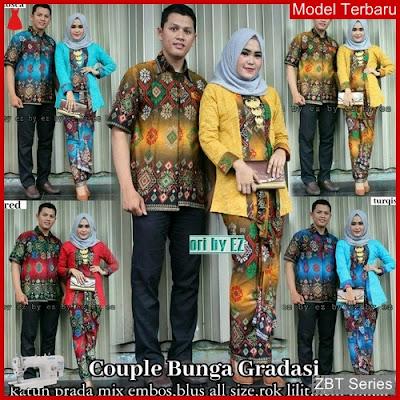 ZBT05009 Kebaya Batik Couple Bunga Gradiasi Ibu BMGShop