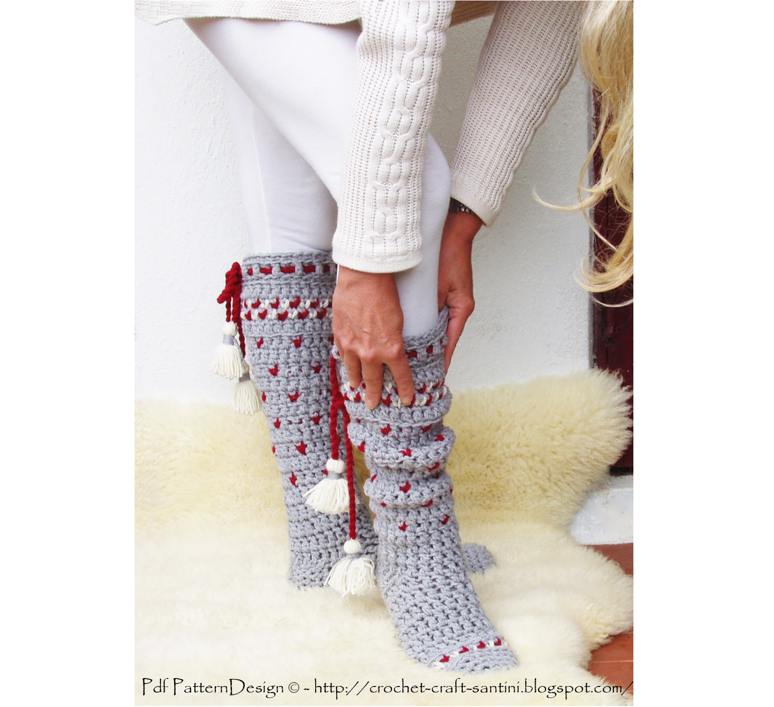 Knee High Crochet Winter Socks