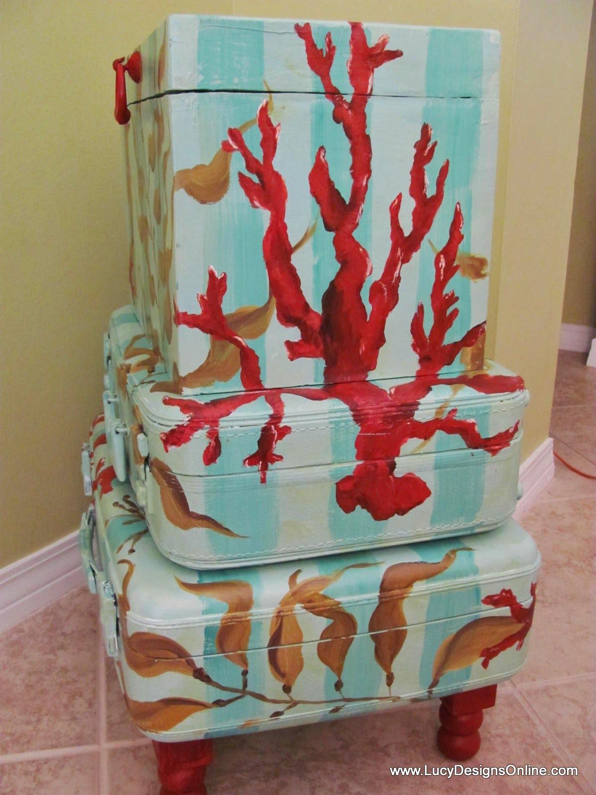 Stacked Suitcase Table Coastal Theme Repurposed Storage