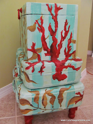hand painted suitcase table