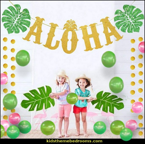 Hawaiian Aloha Party Decorations  Tropical party decorations - tropical party ideas - ALOHA Hawaii Luau Party Decorations - Luau Hawaiian Grass Table Skirt raffia Decorations - Hula Hibiscus Tropical Birthday Summer Pool Party Supplies - tiki party pineapple party decorations - beach party - Birthday party  photo backdrop - tropical themed cake decorations - beach tiki themed table decorations -  party props - summer party