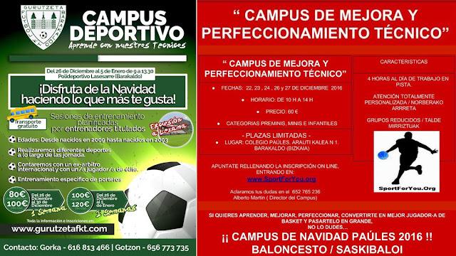 Campus de Navidad el Paúles y del Gurutzeta