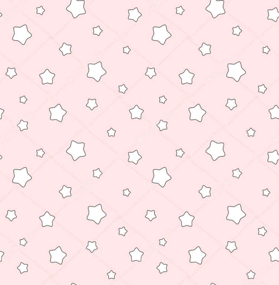 cute cartoon white stars on pink background seamless vector