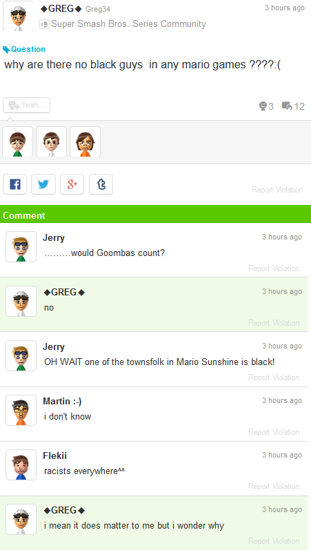 Miiverse why are there no black guys people Super Mario games