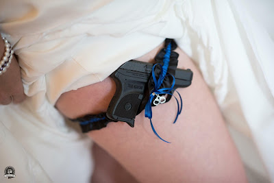 Thin Blue Line Wedding Garter by Sugarplum Garters