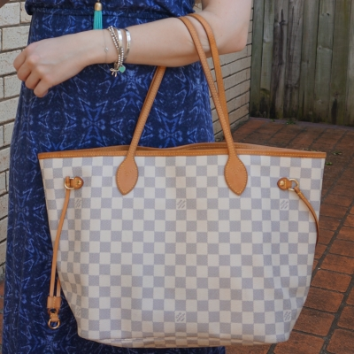 blue printed maxi dress and Louis Vuitton MM damier azur neverfull | away from the blue