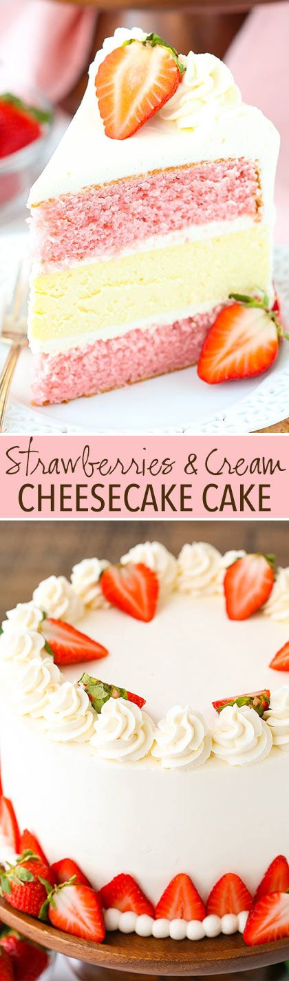 This Strawberries and Cream Cheesecake Cake is the stuff cake dreams are made of! With two layers of strawberry cake and a creamy layer of vanilla cheesecake in the middle, this cake is delicious and hardcore. True cake lovers – please proceed. 🙂
