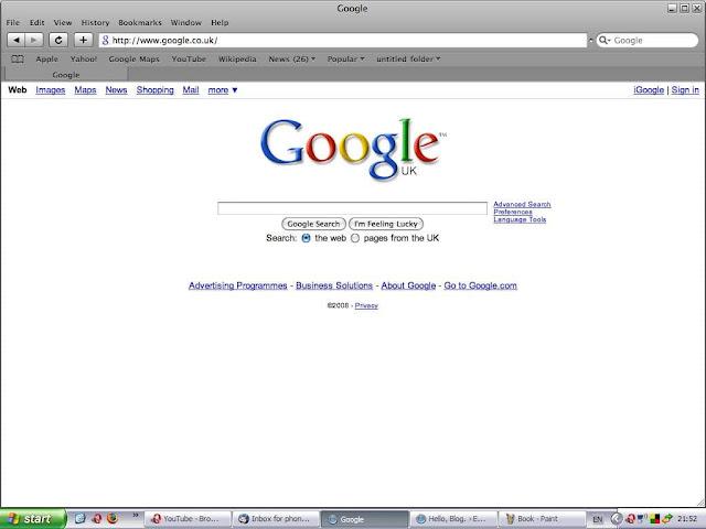 Viewing Google on Safari Browser