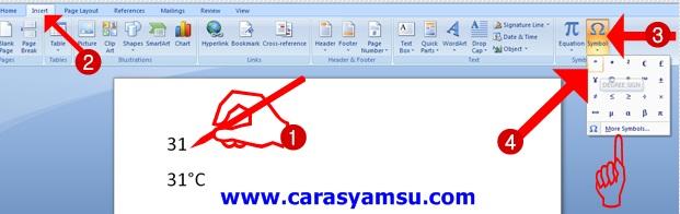 Cara Praktis Mengetik Simbol/Lambang Derajat di Microsoft Word