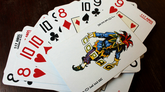 A pack of colourful playing cards.