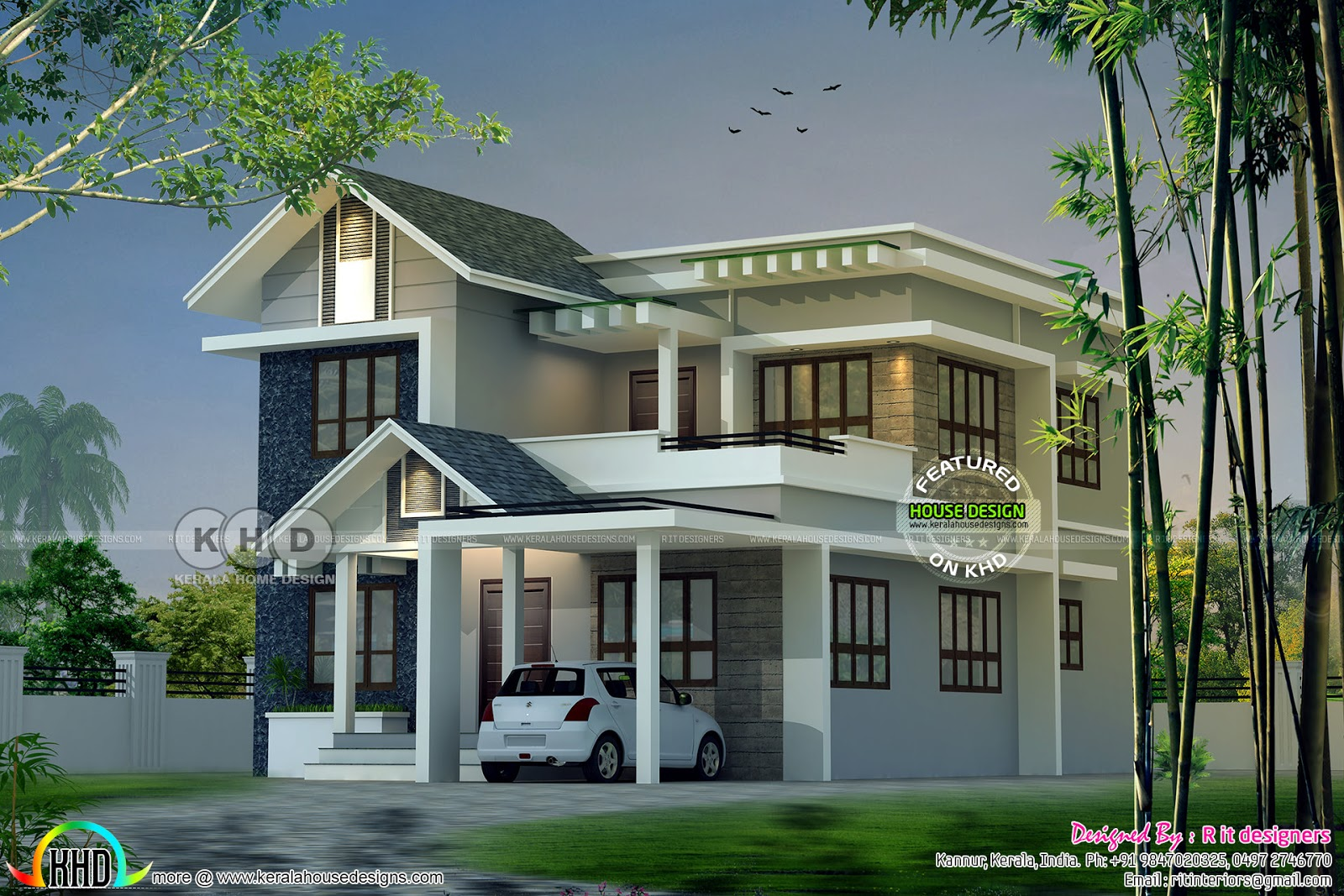 Modern Mixed Roof Kerala Home Design 2047 Sq Ft Kerala