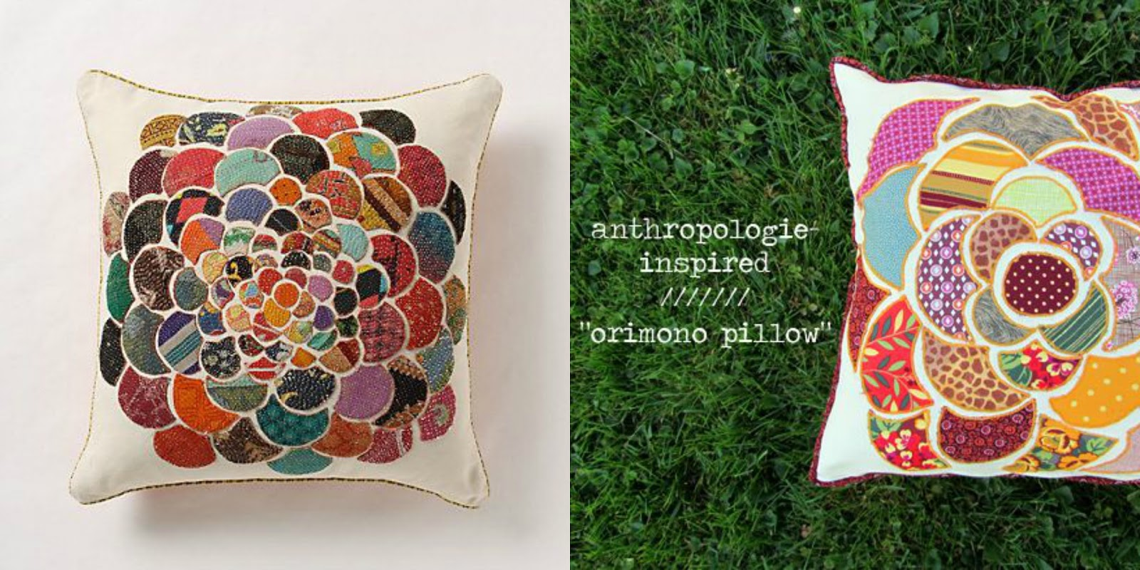 orimono anthropology inspired patchwork pillow diy