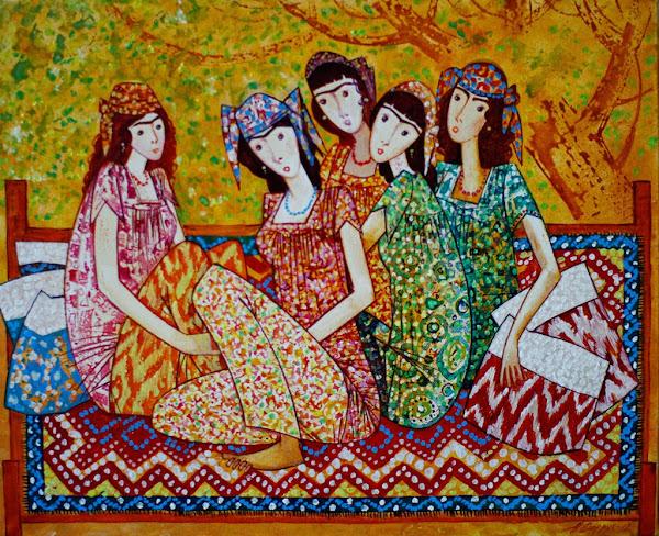 Tadjikistan, Douchanbé,  Maison des Peintres, Farruck Negmat-Zade, tapshan, tapchane, © L. Gigout, 2012