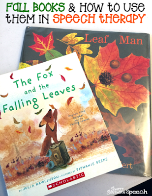 Great fall book ideas for using in speech therapy and vocabulary words