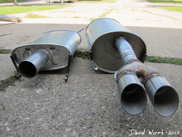 compare muffler size, high performance, stock