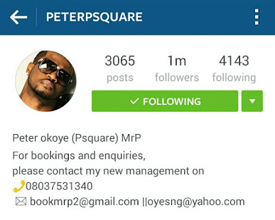 Publicity Stunt: Peter Okoye Reveals New Stage Name And Management