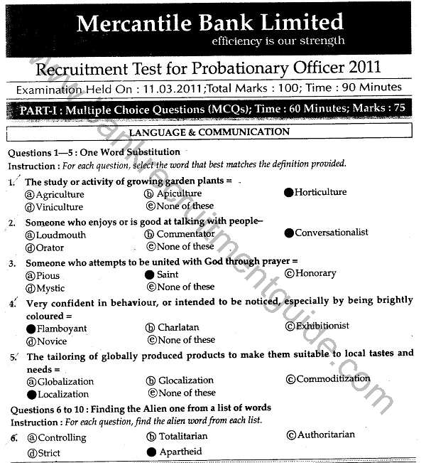 Mercantile Bank Recruitment Test Answers of Probationary