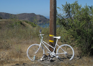 Ghost bike in memory of Jose Martel, killed on Old Creek Road above Cayucas, California on 3 December 2016