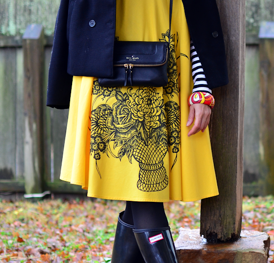 Hunter boots with yellow dress