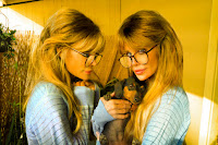 Barbi Twins and rescue dog