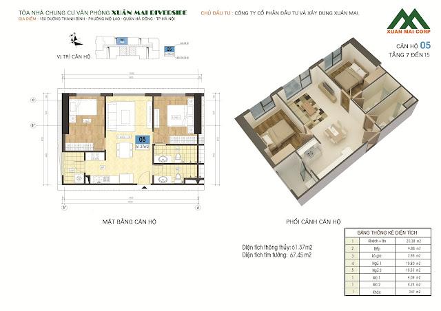 Thiết kế căn hộ 05 - dt 61m Xuân Mai Riverside