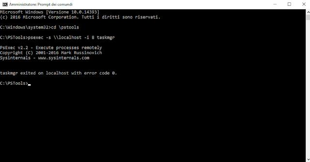 Avvio del Task Manager con l'utenza System tramite PSEXEC