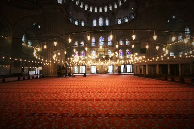 Visitors are not permitted to enter the praying hall at Blue Mosque in Sultanahmet in Istanbul, Turkey