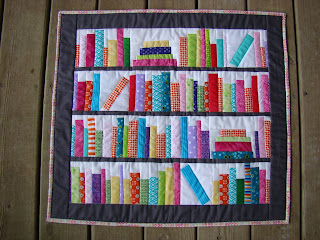 Bookshelf library book Bookends Mini quilt pattern by Slice of Pi Quilts