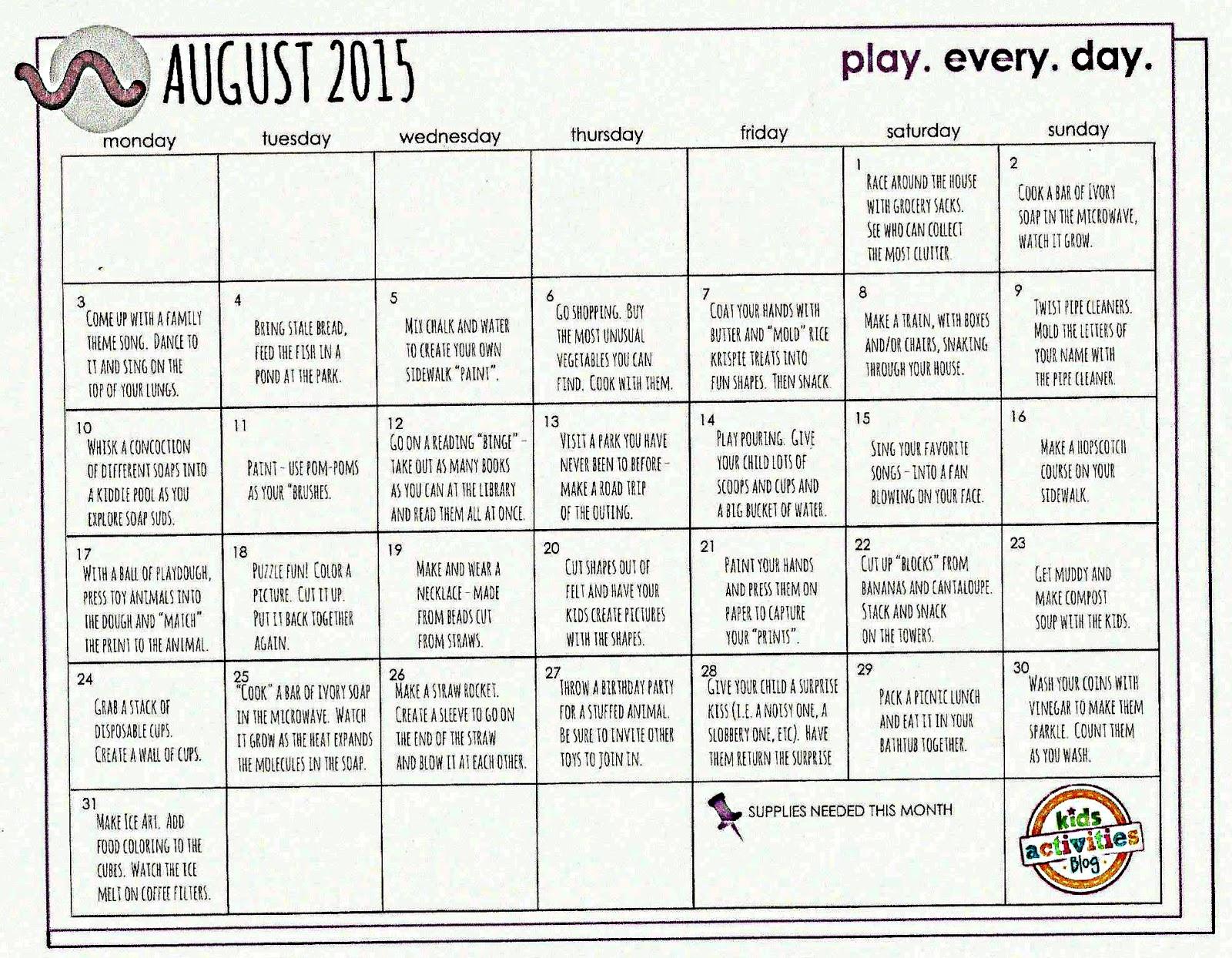 Kindergarten And Mooneyisms August Play Calendar