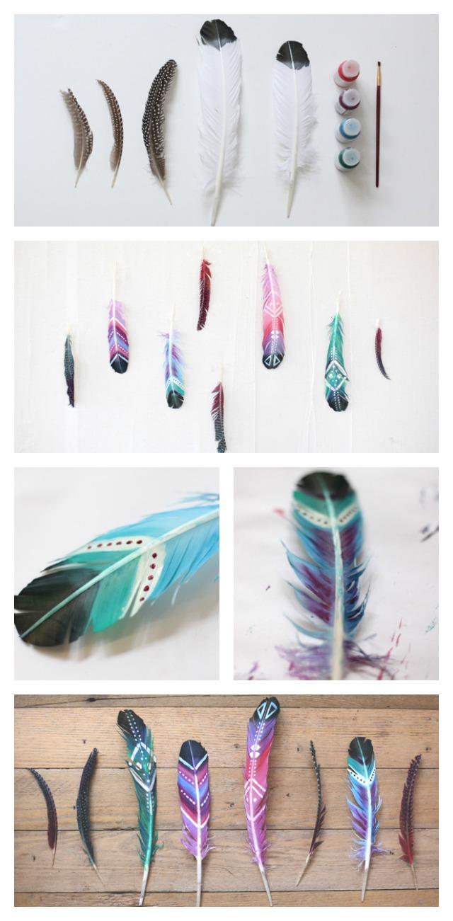Diy pintar plumas y usarlas para decorar x4duros - Plumas para decorar ...
