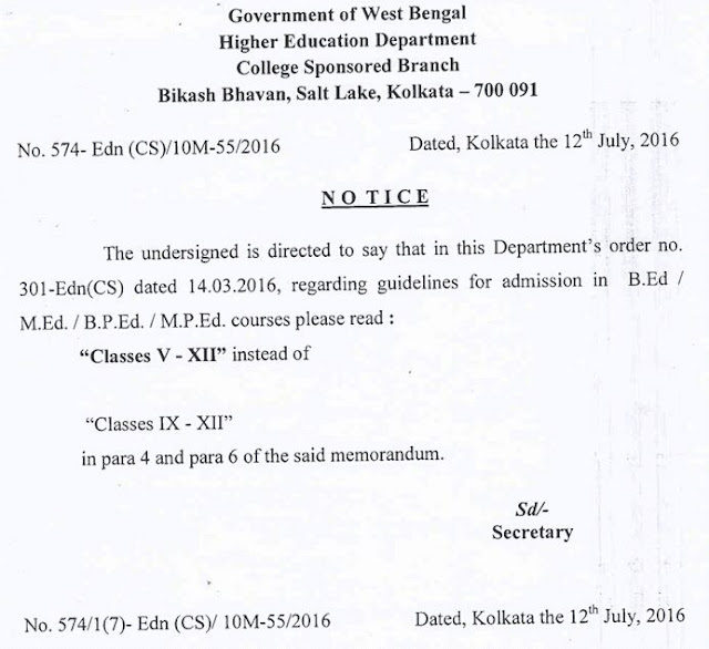 Deputation B.Ed for Teachers of Class- V to XII