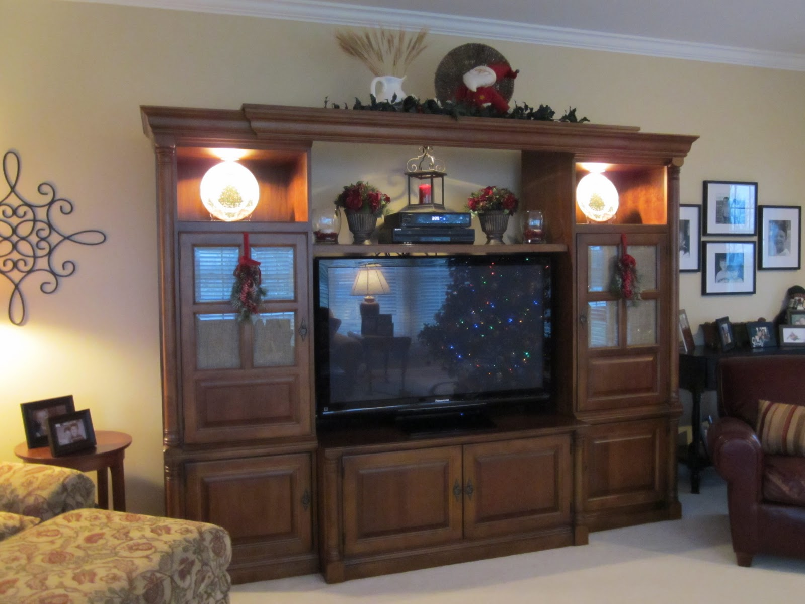 TV entertainment center decorated for Christmas