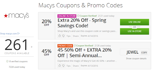 Macy's coupons at Groupon