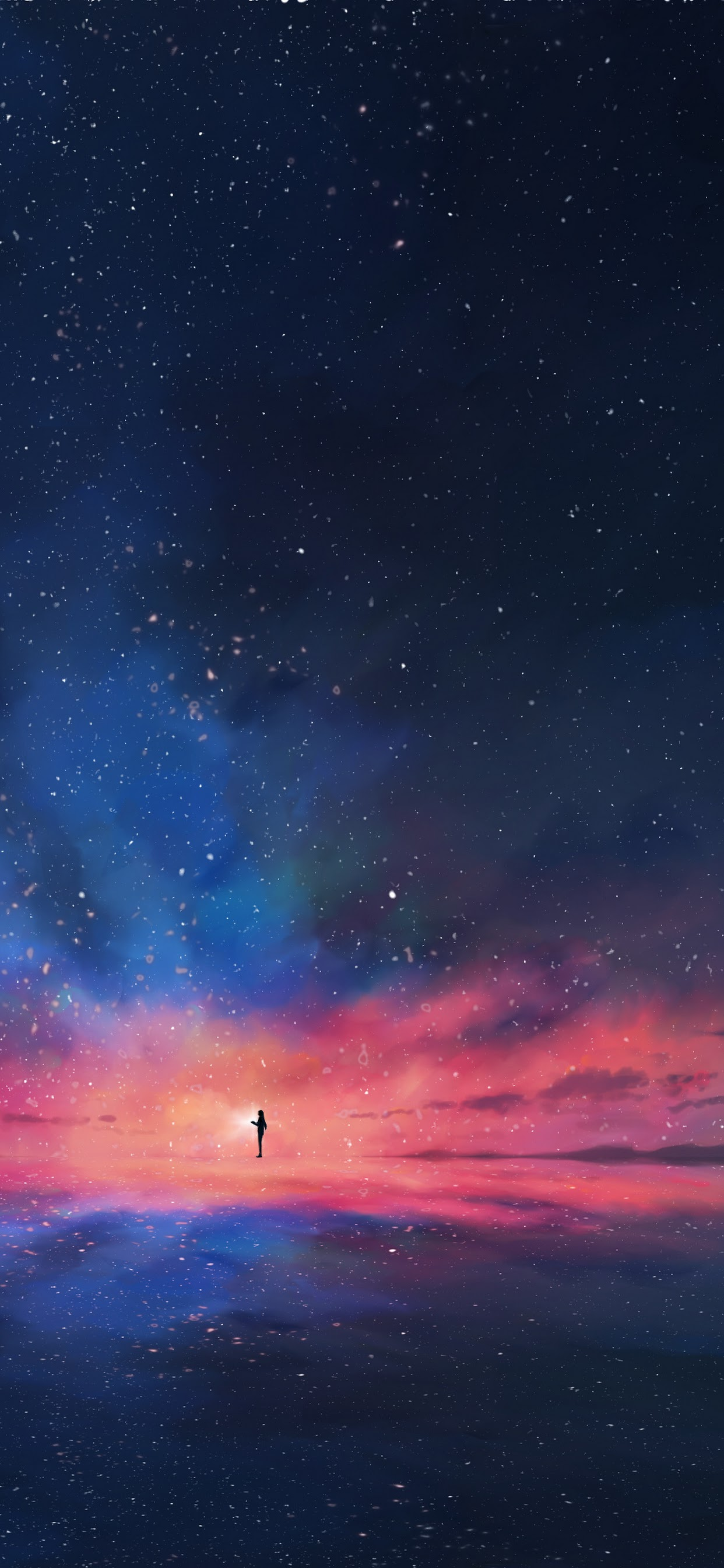 Anime Night Sky Stars Horizon Scenery 4k Wallpaper 92