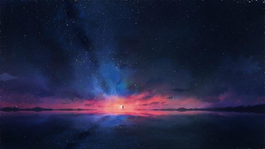 Anime Night Sky Stars Horizon Scenery 4k Wallpaper 92